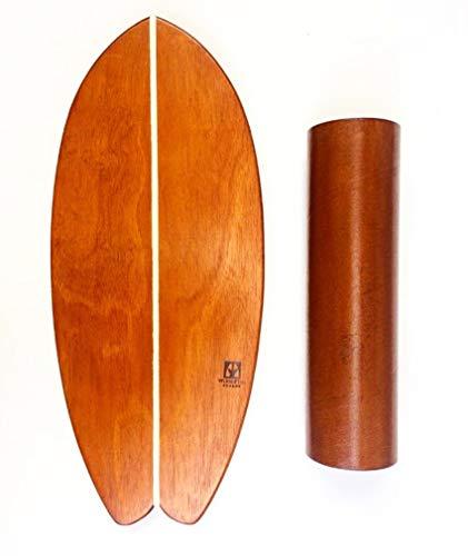 Wood Fish Boards Balance Board - Balanceboard aus Holz handgemacht in Brasilien - Set inkl. Bord und Rolle (Farbe: Braun/Natur)- Indoor Surfboard Trickboard Skateboard Gleichgewichtstraining