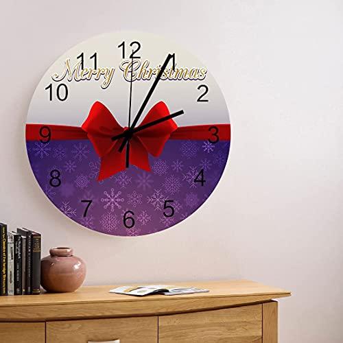 Reloj de pared de madera redondo silencioso sin tictac de 10 pulgadas Merry con lazo rojo y copo de nieve Reloj de manos con números romanos para decoración del hogar para cocina, sala de estar, dormi