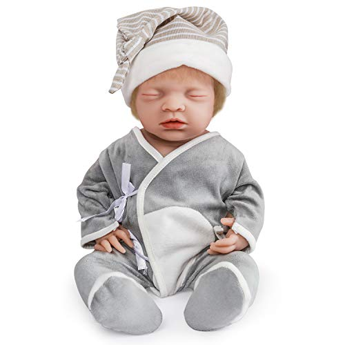 Read About Vollence 18 inch Sleeping Full Silicone Baby Dolls with Hair, Not Vinyl Dolls, Eye Closed...