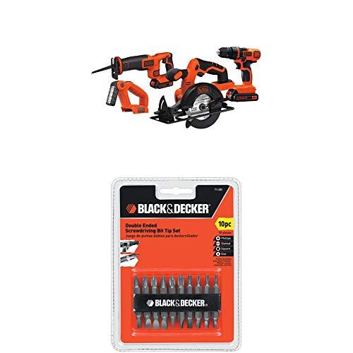 BLACK+DECKER 20V MAX Cordless Drill Combo Kit, 4-Tool (BD4KITCDCRL) & Screwdriver Bit Set, Double Ended, 10-Piece