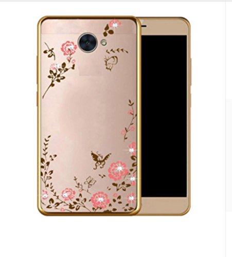 para Huawei P8 Lite 2017 Pra-LA1; Pra-LX2; Pra-LX1; Pra-LX3 Funda Protectora Gel Silicona TPU Transparente + Marfil Glitter Gold Oro 3D Strass + Bordes Aluminio