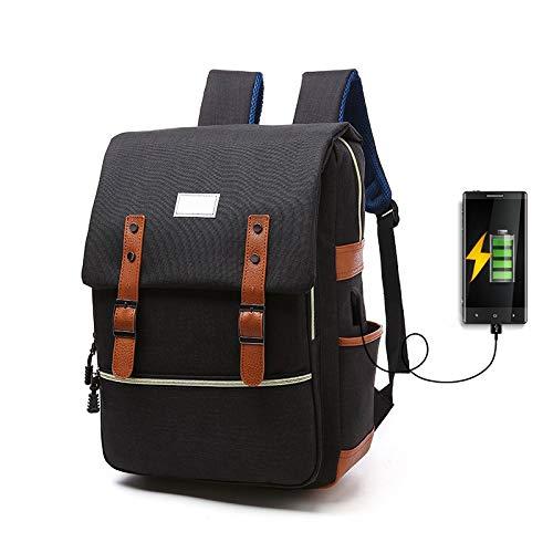 Laptoprugzak, schoolrugzak, met USB-poort voor eenvoudig opladen van mobiele telefoon of tablet, voor school, werk, wandelen, uitstappen