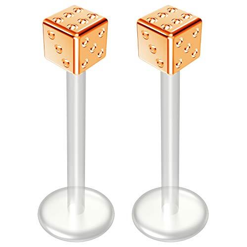 2 st 16 g 1,2 mm Bioflex Labret Bar Rose Goud 16 Gauge 12 mm Bioplast Leuke Dobbelstenen Monroe Piercing Sieraden Lip Studs