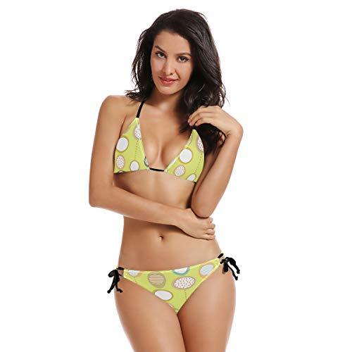 AIMILUX Bikini zum Schnüren,Abstrakte süße Bunte Kreis ovale Streifen,Frauen Badeanzug Low Rise Skinny(XXL)