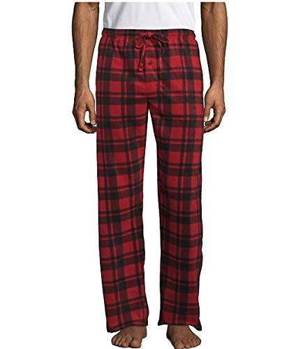Hanes Men's Microfleece Plaid Sleep Pant, Red Plaid I, Small
