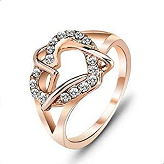 Gold Plated Love Ring for Women Decorated with Clear Crystal