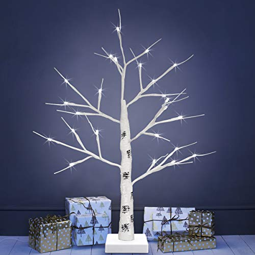 Long Life Lamp Company LED Indoor Christmas Tree White 60cm Foldable 6000k Light Dual - Mains and Battery Operated