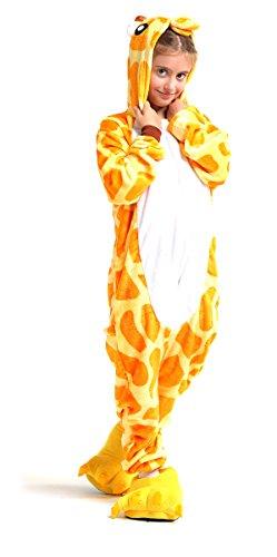Tante Tina Ganzkörperkostüm Giraffe für Kinder - Giraffenkostüm für Kinder aus kuschligem Plüsch und Flannel - Orange/Weiß - Größe 110-120 (Herstellergröße 105)