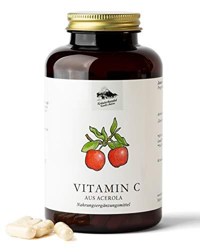 KRÄUTERHANDEL SANKT ANTON® - Vitamin C Kapseln - Aus Acerola mit Vitamin B6 und Vitamin B12 - Deutsche Premium Qualität (180 Kapseln)