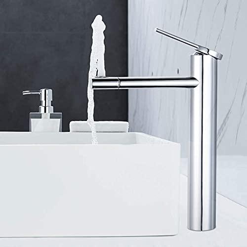 Rubinetto bagno lavabo ,Dalmo Miscelatore monocomando lavabo alto,Valvola Ceramica & Aeratore ABS &360 Girevole & Rubinetto risparmio idrico con doppio cambio marcia