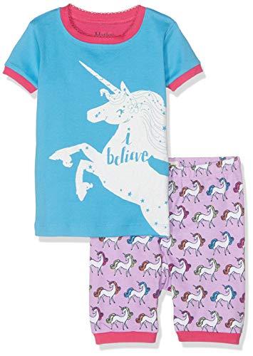 Hatley Girls' Little Organic Cotton Short Sleeve Applique Pajama Set, I Believe-Rainbow Unicorns, 5 Years