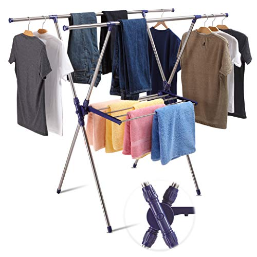 SmartSome Clothes Drying Rack  Foldable Drying Racks for Laundry Heavy Duty Stainless Steel for Indoor and Outdoor Use
