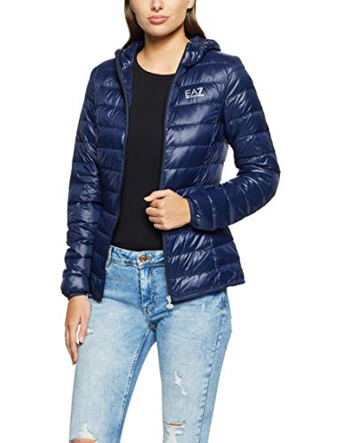 EA7 Emporio Armani Active Damen Train Core Hoodie Jacket Gesteppte Jacke, marineblau, X-Large