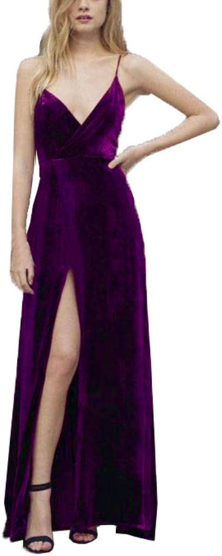 Topashe Women's Sexy Spaghetti Strap VNeck Slit Velvet Cocktail Party Dresses