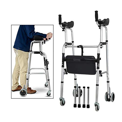 FKDEWALKER Aluminium Foldable Walking Frame,Wheeled Walker with Arm Rest,Walking Mobility Aid,,Lower Limb Trainer,Standard Walker (Color : 4 Wheels+4 Walker Legs+seat)