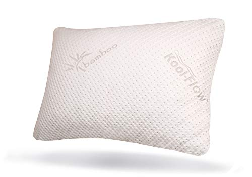 Snuggle-Pedic Original USA Made Ultra-Luxury Bamboo Shredded Memory Foam Pillow Combination – Kool-Flow Breathable Best Cooling Hypoallergenic Bed Pillow Outer Fabric Covering (Queen)