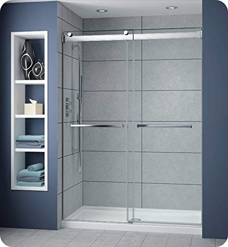 Fleurco NP160-25-40 Gemini Plus Frameless Bypass Sliding Shower Doors in Brushed Nickel Finish