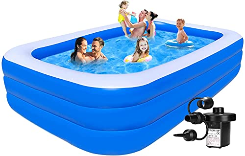 Kreative Marche Best Way Swimming Pool Inflatable Bath Tubs for Adults Spa Swimming Bath Tub with Pump 10 Feet Blue (with Electric Pump)