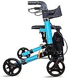 Rollator Walker Medical Walker para personas mayores y adultos Walker Rollator y silla de transporte, brazos de longitud de escritorio, reposapiés de distancia, 4 ruedas plegables Rollator Walker con