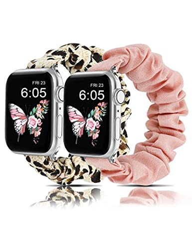 Wearlizer 2 Packs Slim Watch Band Compatible with Scrunchies Apple Watch Band 42mm 44mm Cute Pattern Printed Fabric Starp Women Elastic Stretchy Band for iWatch Series 6 5 4 3 2 1 SE(Pink/Leopard S)