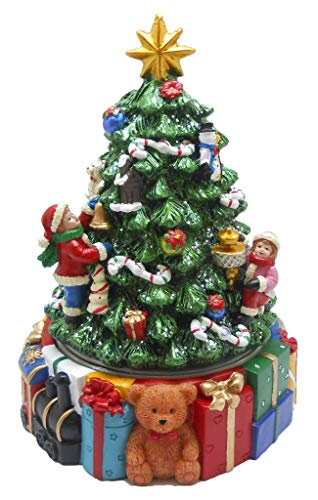 Lightahead Musical Revolving Christmas Tree with Teddy Bear, Gifts and Christmas Music Playing in Poly Resin