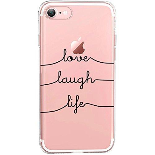 GIRLSCASES® | Hülle kompatibel für iPhone 8/7 | Mit coolen Spruch Aufdruck Motiv | Love-Laugh-Life | Case transparente Schutzhülle | Farbe: schwarz |