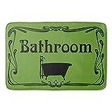 N/A Badteppiche und -matten, Badteppich, Vintage-Design, Olivgrün, Schwarz und rutschfest, saugfähig, für Badezimmer und Küche, 40 x 60 cm, einfarbig, 40 x 60 cm