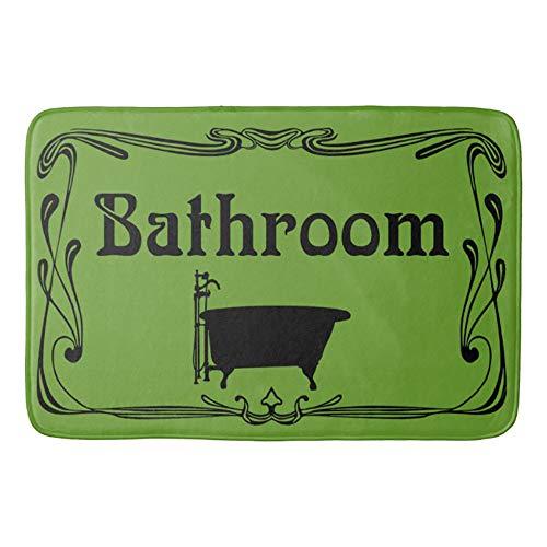HomeLEE badtapijten en matten, badmat badkamer vintage bad olijfgroen zwart en antislip absorberende badkamer keuken loper vloermat tapijt, 50 x 80 cm