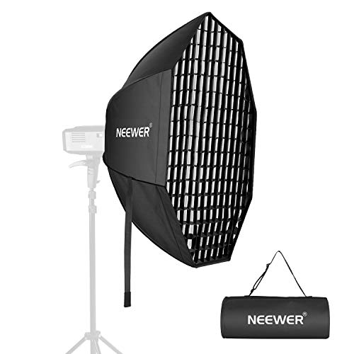 Neewer 24 Inches Octagon Quick Collapsible Softbox with Bowens Mount, Removable Diffusers and Grid, Quick Folding Softbox with Carrying Bag for Photography Studio Speedlite Flash and Monolight