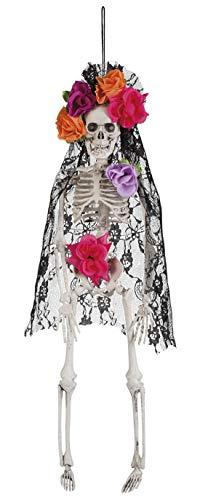 Party Palast - Halloween Dekoration Hänge Deko Skelett Totenkopf mit Blumen im Day of The Dead Stil, 40cm, Skeleton Skull La Pelona, ideal für Jede Halloween Party / Feier, Weiß