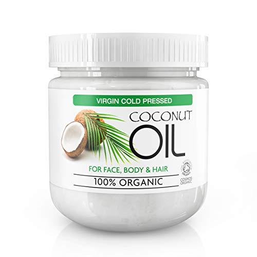 Natives Kokosöl für Haut- & Körperpflege - Bio-Öl für alle Hauttypen - Natürliche Feuchtigkeitscreme, Badecreme, Bodylotion, Massageöl, Dehnungsstreifen, feuchtigkeitsspendende Haarmaske - 500g