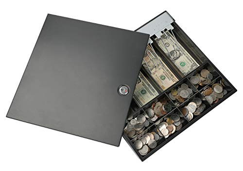 """KYODOLED Locking Cash Drawer Tray with Cover,8 Coin 4 Bill Tray with Metal Security Lid,Steel Clips Cash Register Box with Key,12.99""""x12.32""""x2.2"""" Black"""