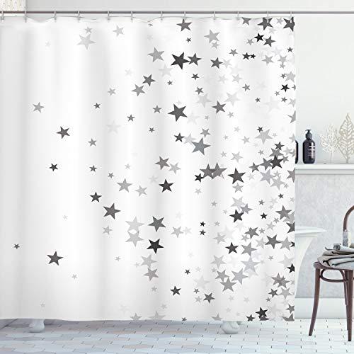 ABAKUHAUS Estrellas Cortina de Baño, Gris Estrellas de la celebración, Material Resistente al Agua Durable Estampa Digital, 175 x 180 cm, Gris pálido Gris