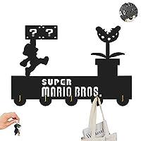 Super Marioスーパーマリオ テーマ服フック-ゲーム、映画、アニメーション壁フック-インテリアアクセサリー-壁、入口、リビングルーム用キーホルダー-ユニークなプレゼント5つ