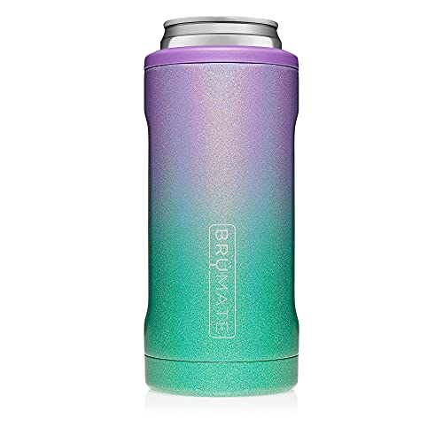 Brümate Hopsulator Slim Double-Walled Stainless Steel Can Cooler For 12 Oz Slim Cans (Glitter Mermaid)