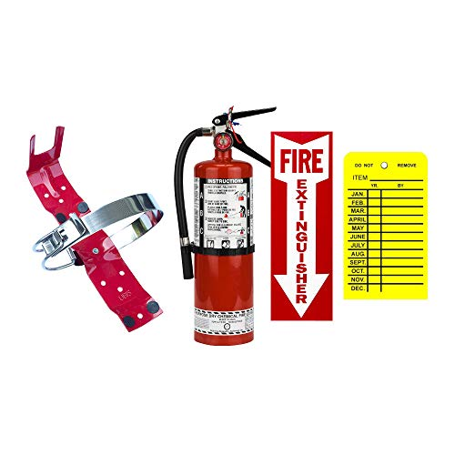 5Lb Fire Extinguisher 2A10BC Buckeye Class ABC Dry Chemical With Vehicle Bracket, Sign And Inspection Tag California