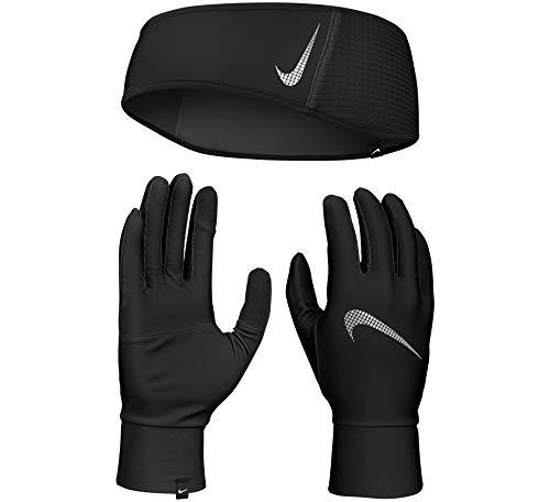 Nike Herren Mens Essential Stirnband und Handschuhe, Black/Black/Silver, L/XL