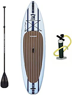 """TOWER Inflatable 10'4"""" Stand Up Paddle Board - (6 Inches Thick) - Universal SUP Wide Stance - Premium SUP Bundle (Pump & Adjustable Paddle Included) - Non-Slip Deck - Youth and Adult"""