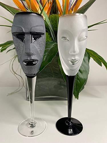 M'Apollo - Copas de champán - Juego de 2 copas de cristal de lujo - Vasos de decoración hechos a mano - Fiestas, regalo de cumpleaños, para ella (negro), negro y transparente - Kubik y Electra