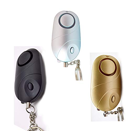 Persönlicher Alarm, persönlicher Alarm, Notfallalarm-Schlüsselanhänger, mit LED-Licht, geeignet für Frauen und ältere Menschen (3 Stück)