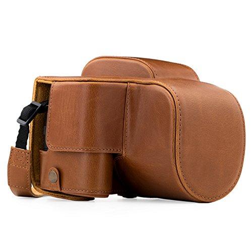 MegaGear Ever Ready MG1225 - Funda de Piel con Correa para cámara Panasonic Lumix DC-FZ80 y FZ82, Color marrón Claro