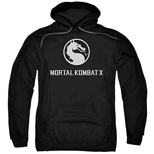 Mortal Kombat X Fighting Video Game Horizontal Dragon Logo Sudadera con capucha para adultos - Negro - 2X