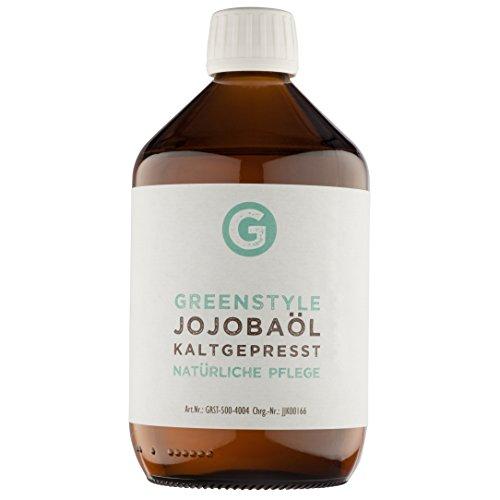 Jojobaöl Gold kaltgepresst (500ml) - 100{a5ac021771a2fec668af4e75671788a53302652ae5851ecf9964a38d7ffd5413} reines Öl für Haut und Haar von greenstyle