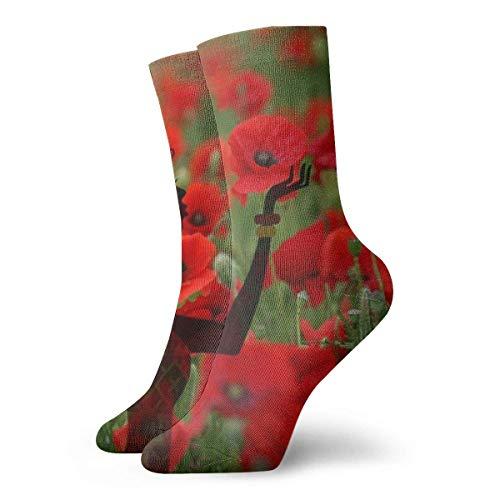 Summer Red Poppy Field Calcetines cortos para adultos Algodón Gimnasio Clásico Deporte de ocio Calcetines cortos Adecuado para hombres Mujeres Calcetines de sudor Calcetines casuales transpirables cóm