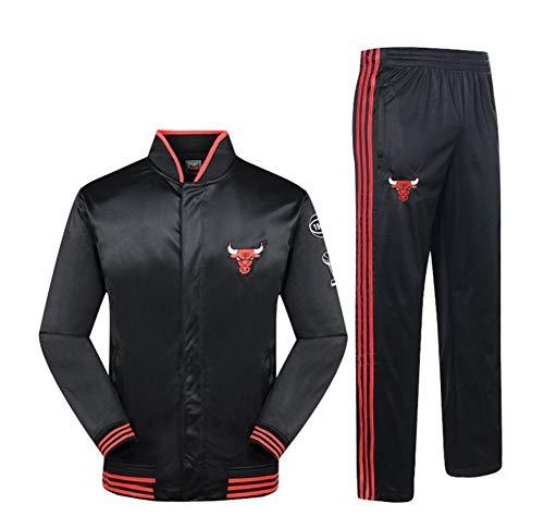 NBALL-HU Chicago Bulls Black Sports Suit Traje De Entrenamiento De Baloncesto Jersey De Manga Larga Conjunto De Chaqueta De Primavera Y Otoño (Tops + Pantalones),M:170~175cm