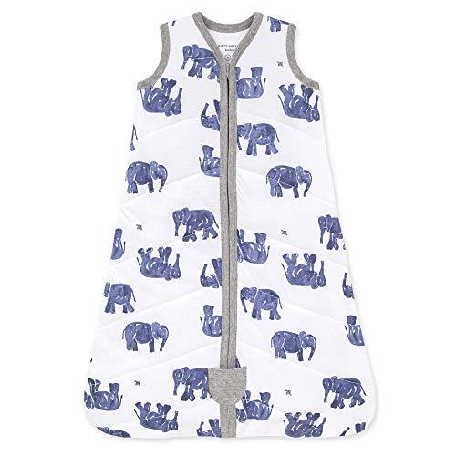 Burt's Bees Baby Baby Beekeeper Wearable Blanket, 100% Organic Cotton, Swaddle Transition Sleeping Bag, Wandering Elephants, Large