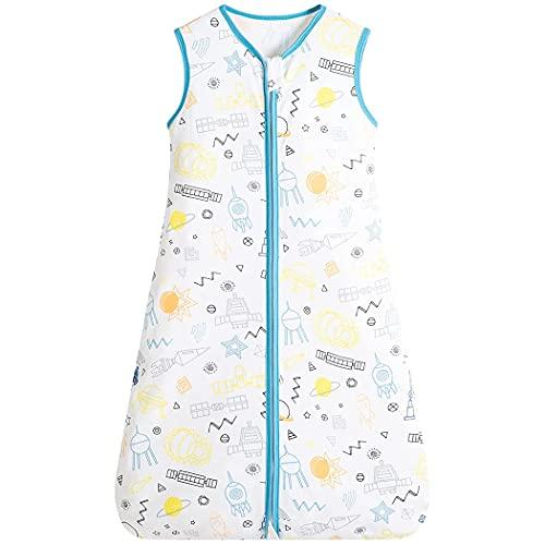Saco de dormir para bebé puro algodón, 0,5 tog, sin mangas, con cremallera bidireccional, súper suave, ideal para los meses de verano, 100% algodón (S, molino de viento)