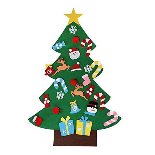 Gizayen Feutre Arbre de Noël, Sapin de Noël Décoration Vitrine DIY Feutre avec Ornements détachables Cadeaux de Noël pour Noël pour Les Enfants Porte-Manteau Décoration Murale de Porte