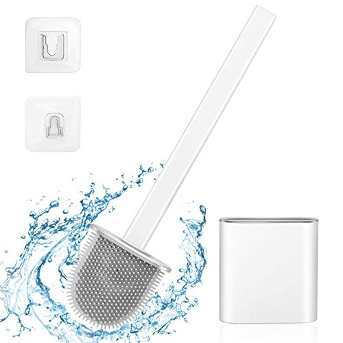 TaimeiMao Escobillas de Inodoro de Silicona,Cepillo para Inodoro,Escobilla WC,Escobillas de Baño Cepillo Limpieza,para Inodoro para baño (Blanco)