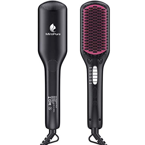 Hair Straightener Brush, MiroPure Ionic Anti-Scald Straightening Brush with Fast MCH Ceramic Heating, Adjustable Temperatures, Auto-Off & Dual Voltage, Portable Straightening Comb